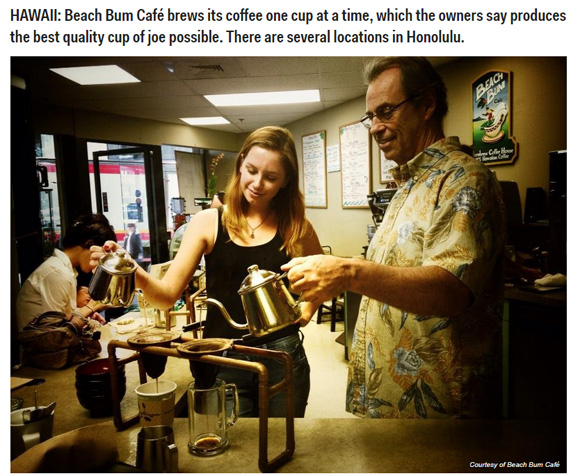Best Coffee Shops In The US - Business Insiderに掲載されたBeach Bum Cafe