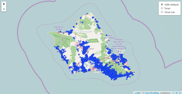 Honolulu 2015 Accident Map
